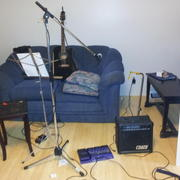 Mic, amp, guitar, ready to go