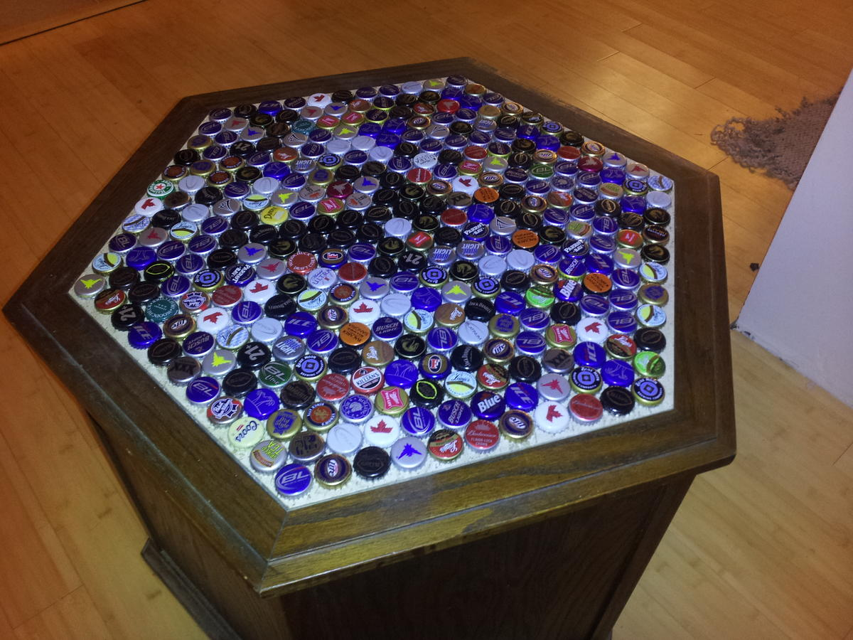Diy beer cap table brobility for How to make a table out of bottle caps